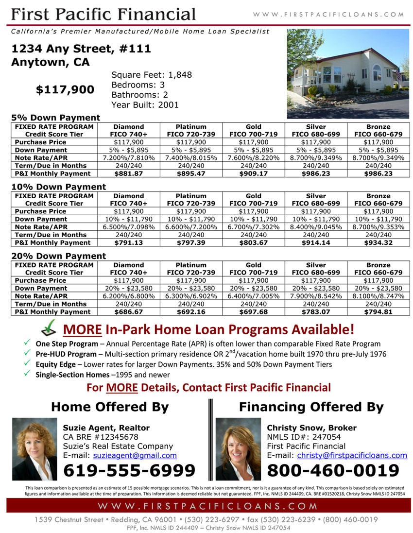 Have A Listing For Manufactured Home In Park Let First Pacific Financial Provide You With Specific Loan Comparison Flyer